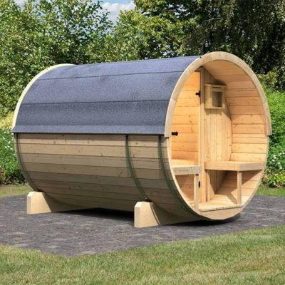 Sauna Baril avec terrasse : une déclinaison du sauna Baril avec une terrasse extérieure en madrier massif de 42 mm.