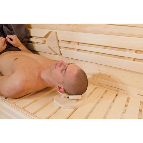 Appui tête ergonomique pour une relaxation complète. La tête repose sur un socle composé de 4 plaques pivotantes. L'appui tête est en bois de tremble, le bois qui ne prend pas la chaleur