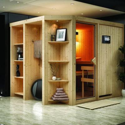 Sauna Juna : un sauna d'intérieur dans la plus pure tradition finlandaise. Son design permet une intégration facile dans votre intérieur