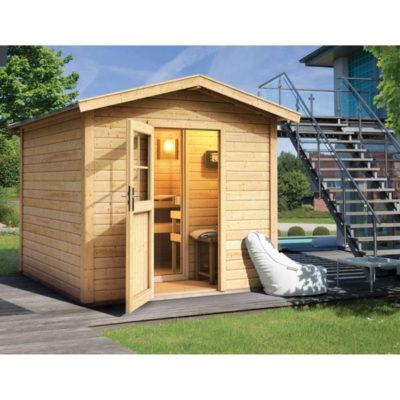 Sauna Bosse avec vestibule : superbe sauna chalet avec un vestibule qui s'intègre parfaitement dans votre jardin en apportant une vraie touche nordique. L'espace a été soigneusement aménagée pour maximaliser son utilisation.