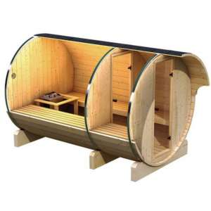 Sauna Baril avec vestiaire: une déclinaison du sauna Baril avec un vestiaire qui permet de se changer en toute sérénité avant et après sa pause sauna.
