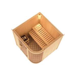 Parima 3 : un sauna d'intérieur dans la plus pure tradition finlandaise qui laisse place aux surfaces vitrées et à la lumière.