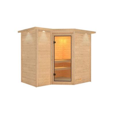 Sauna Sahib 1 : un sauna en épicéa nordique et naturel massif. La conception permet d'économiser l'énergie.