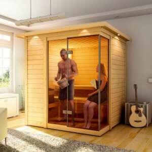 Sauna platina 3 : un sauna en épicéa nordique et naturel massif. La conception permet d'économiser l'énergie.