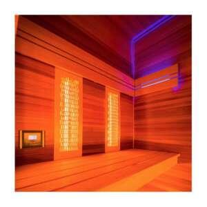 Les équipements supplémentaires relaxants Pour profiter au mieux de vos séances de sauna, la cabine HOLL'S Hybride Combi intègre également : un sol chauffant (pour un plus grand confort pieds-nus) une Chromothérapie Professionnelle à LED (pour accorder l'ambiance lumineuse à votre humeur) un système son stéréo (pour vous relaxer en musique)